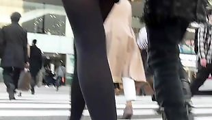 Candid, Stocking, Pantyhose, Asian stockings, Amateur stockings, Upskirt