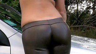 German, Smoking, Toes, Outdoor, Camel toe, Sexy ass