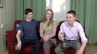 Russian, Russian teen, Guy, Two girls, Lick