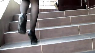 Stockings, Flash, Flashing, Amateur stockings
