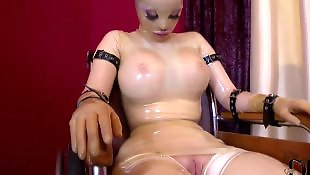 Fuck machine, Pussy close up, Huge cock, Machine, Milky, Latex