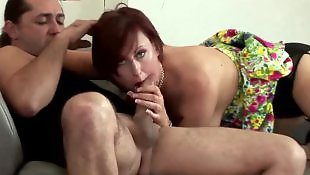Guy, Mature blowjob, Mature, Lucky guy