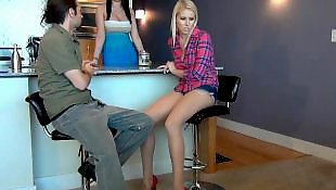 Pantyhose, Stocking footjob, Pantyhose footjob, Under table, Table, Stockings footjob