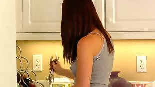 Spread, Kitchen, Spreading, Long hair, Solo fingering, Solo spreading