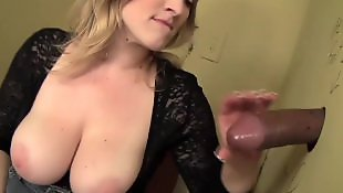 Big cock, Gloryhole, Interracial, Busty, Busty blowjob, Boob suck