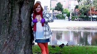 Nudist, Public masturbation, Public, Redhead