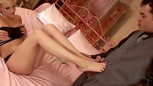 Boy, Tan stockings, Heels fetish, Close up blowjob, Stockings footjob, Boys