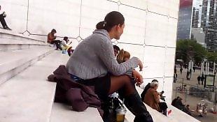 Upskirt, Pantyhose, Voyeur, Amateur stockings, Stairs, Black stockings