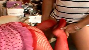 Stocking threesome, White stockings, Doggy