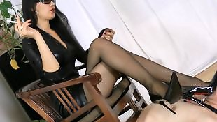 Mistress, Asian stockings, Smoking, Asian foot, Asian stocking, Mistress t