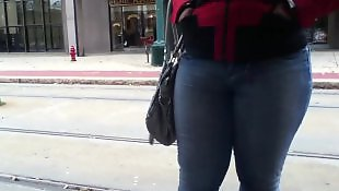 Jeans, Voyeur, Latin, Booty, Black booty, Train