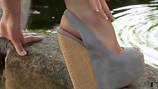 Leggings, Softcore, Legs solo, Small tits solo, Legs, Garden