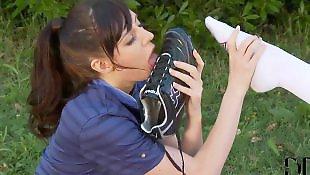 Lesbian foot, Lesbian socks, Milky, Socks, Pussy close up, First time