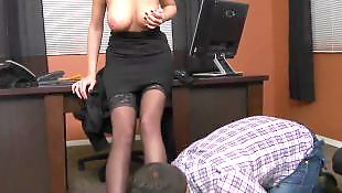 Seducing, Office, White stockings