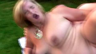 Outdoor, Old granny, Granny, Mature, Housewife, British mature