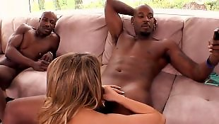 Natural tits, Monster cock, Monster cock anal, Monster, Interracial threesome, Handjob babe