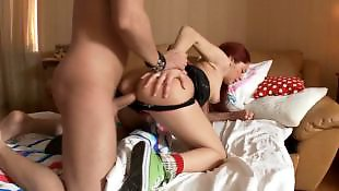 Redhead, First, Facial, Teen facial, Date, Choking