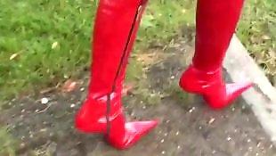Walking, Boots, Corset, Red, Pantie