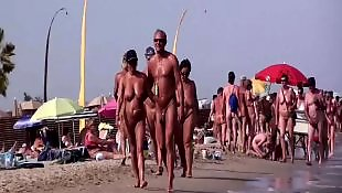 Beach, Nudist, Walking, Nude, French, Voyeur beach