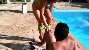 Bikini, Pool, Handjob teen, Bigass, Teen bikini