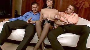 Stocking threesome, Corset, Hooker