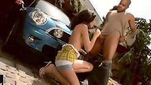 Young girls, Black teen, Squat
