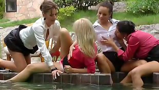Czech, Group, Gangbang, Party, Pool, Lesbian pool