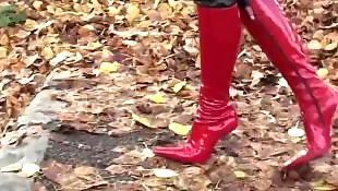 Walking, Boots, Corset, Red, Pantie