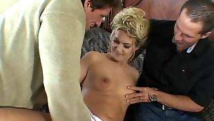 Mature threesome, Mature fuck, Mature blowjob, Tit fuck, Mature, Mature blonde