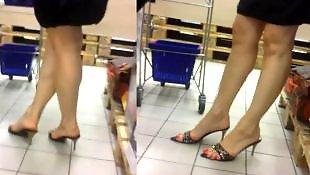 Candid, Mature feet, Mature, Voyeur, Milf feet