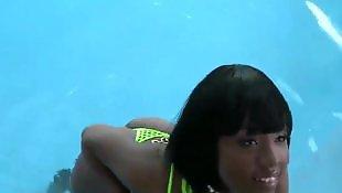Bikini, Tease, Ebony teen, Black teen, Teen bikini, Bigass
