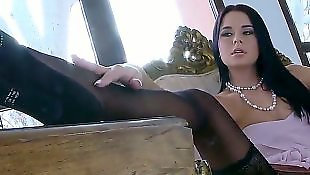 High heels solo, Stockings solo, Foot tease