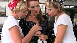 Teen lesbian, Sandy, Three lesbians