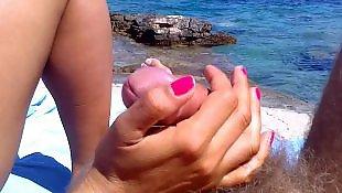 Beach, Beach handjob, Amateur handjob