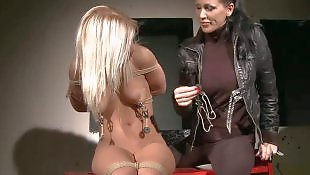 Leather, Busty lesbians, Lesbian domination, Tied, Young busty, Milf lesbian