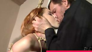 Redhead, Threesome, Threesome blowjob, Threesomes, Suck, Bound