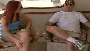 Reality king, Teasing handjob, Boat, Cabin