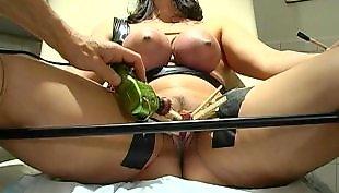 Slave, Big pussy, Big tits, Wax