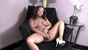 Ebony pussy, Ebony masturbation, Busty masturbation, Wet pussy, Huge toy, Ebony anal