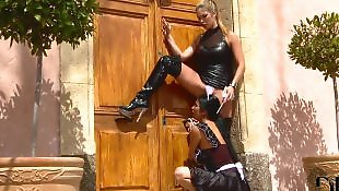 Leather, Pierced nipples, High heels, Dildo heels, Boots, Nipple play