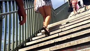 Upskirt, Upskirts, Voyeur, Stairs, Train