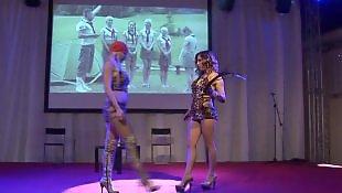 Nudist, Huge dildo, Busty dildo, Stage, Public dildo