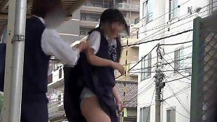 Upskirt, Skirt, Voyeur, Asian amateur, Asian, Student