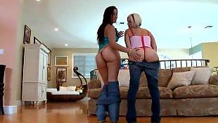 Jeans, Lesbian jeans, Latina lesbian, Lesbian panties, White panties, Small tits lesbian