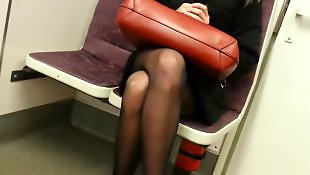 Upskirt, Flashing, Pantyhose, Train, Black girl