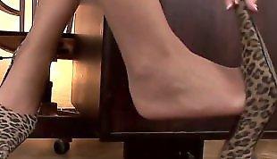 Lesbian heels, Lesbian lingerie, Lesbians stockings, Desk