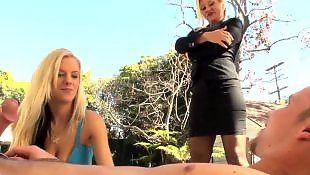 Very hot blonde, Very horny, Two horny blonde, Two girls threesome, Two girls suck, Two girls public