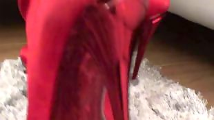 Tease, French, Boots, Miniskirt, Red, Teasing
