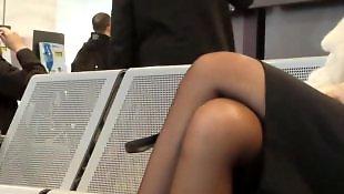 Heels, Amateur stockings, Voyeur, Foot, Stockings, Foot fetish