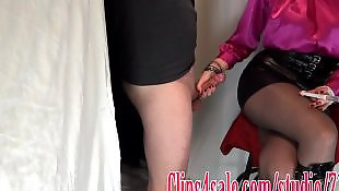 Leather, Stocking handjob, Skirt, Stockings, Stocking, Leather skirt